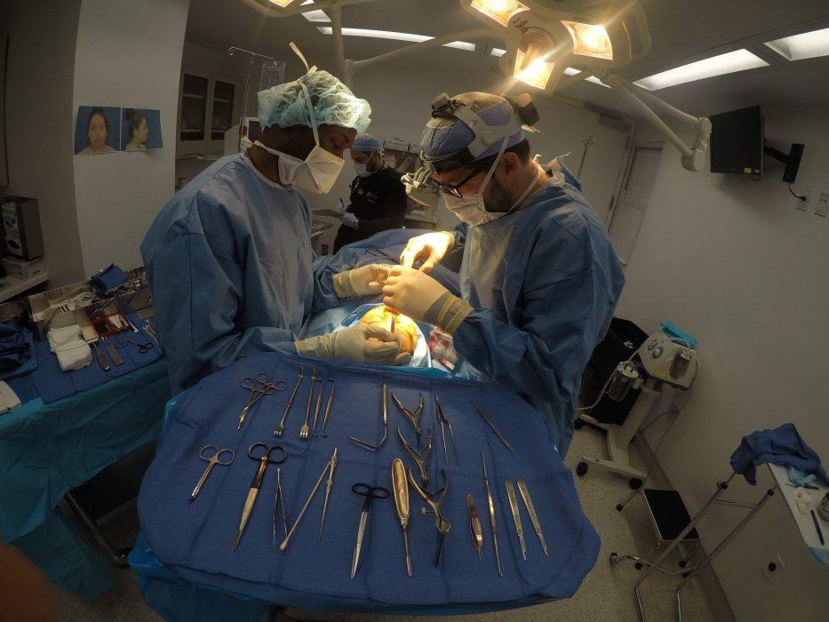 Dr. Cangello during rhinoplasty surgery