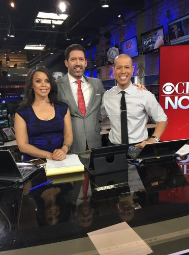 NYC plastic surgeon, Dr. Cangello, with CBS news anchors